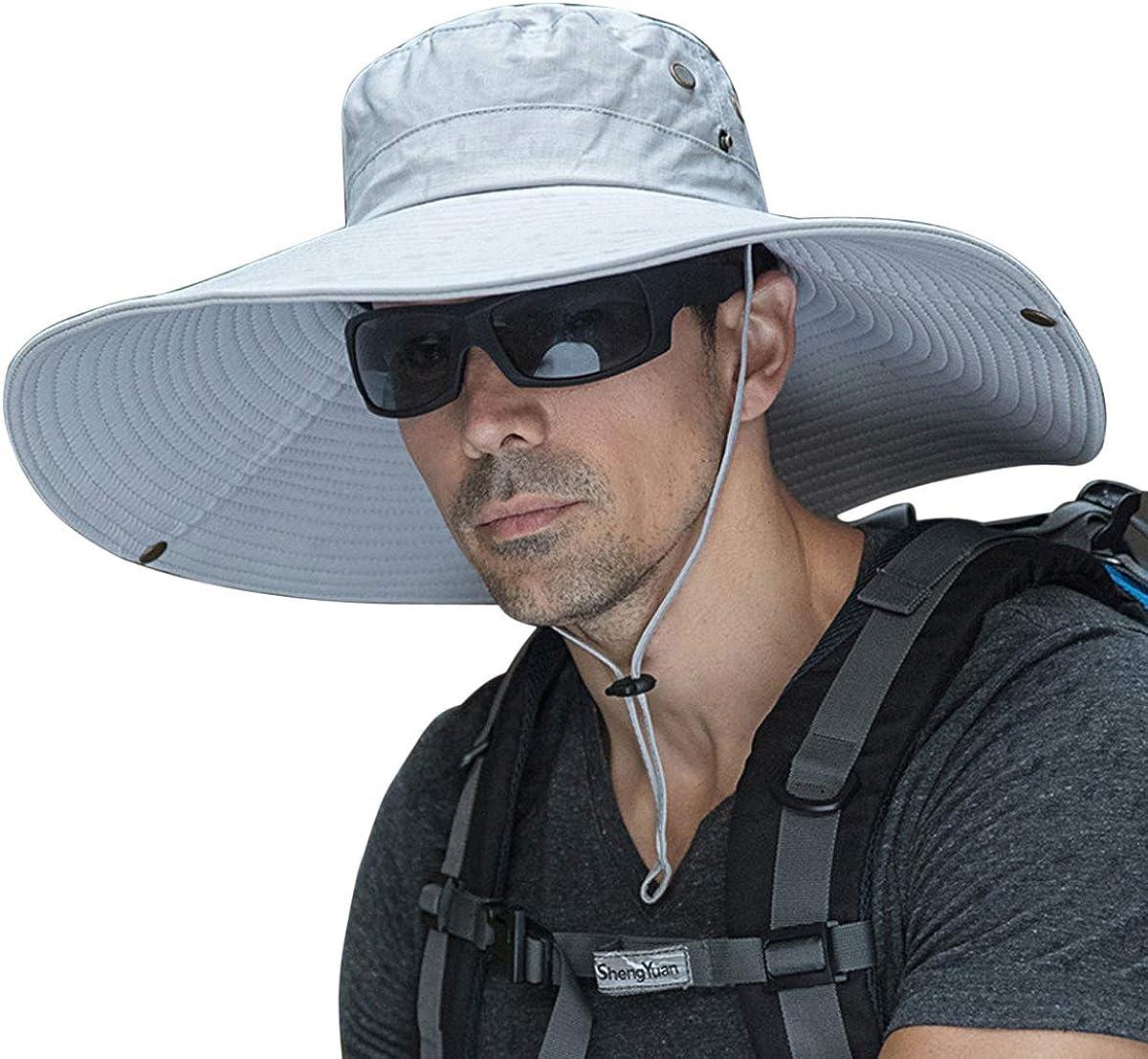 Super Wide Brim Men Fishing Sun Hats, Garden Outdoor Travel Women Bucket Cap, Hiking Safari Boonie Hat