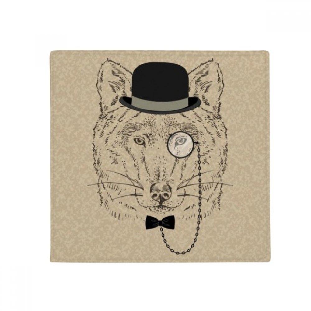 DIYthinker British Style Gentle Wolf Hat Bow Glass Anti-Slip Floor Pet Mat Square Home Kitchen Door 80Cm Gift