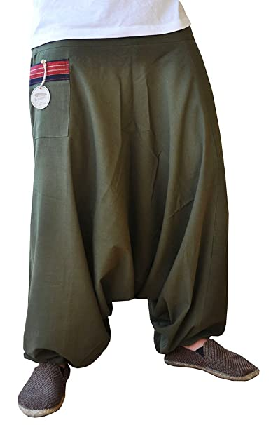 Pantalones bombachos hombre y mujer virblatt con tejidos tradicionales talla única pantalones cagados con cómodo cinturón elástico, S - L ropa - ...