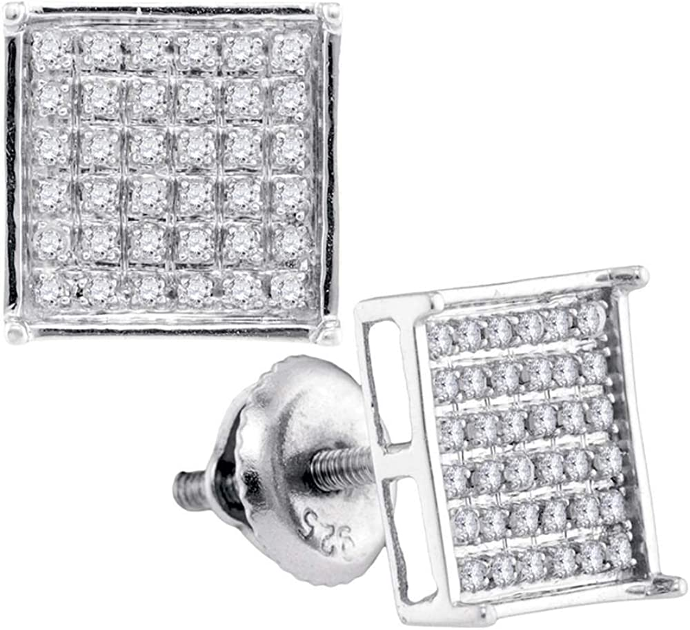 Sterling Silver Round Diamond Square Cluster Earrings 0.23 Cttw