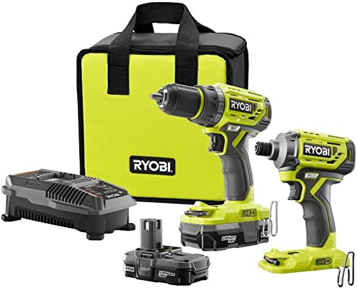 Ryobi 18-Volt ONE Lithium-Ion Cordless Brushless Drill Driver-Impact Driver 2-Tool Kit w 2 1.3 Ah Batteries, Charger,