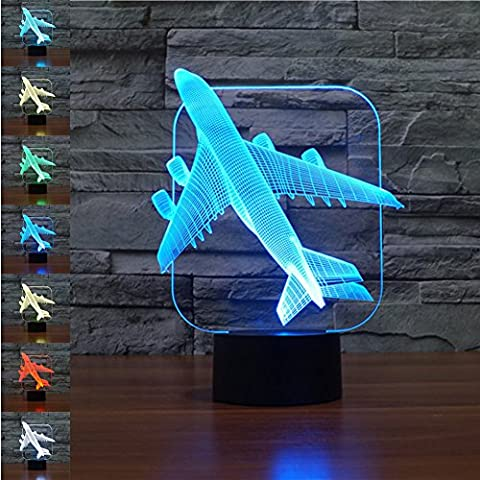 3D Illusion Lamp Gawell Night Light Plane 7 Changing Colors Touch USB Table Nice Gift Toy (Meditation Claw Bell)