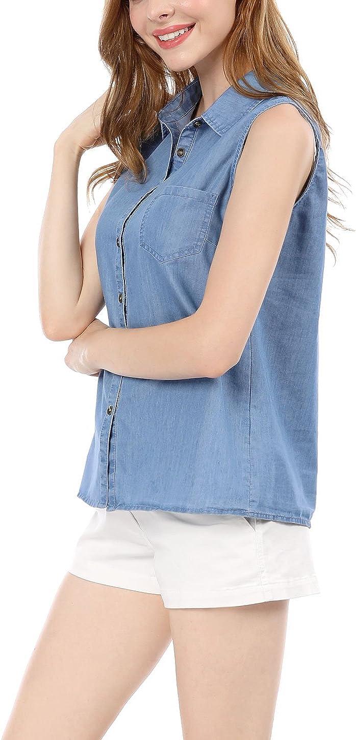 Allegra K Womens Single Breasted Sleeveless Shirt