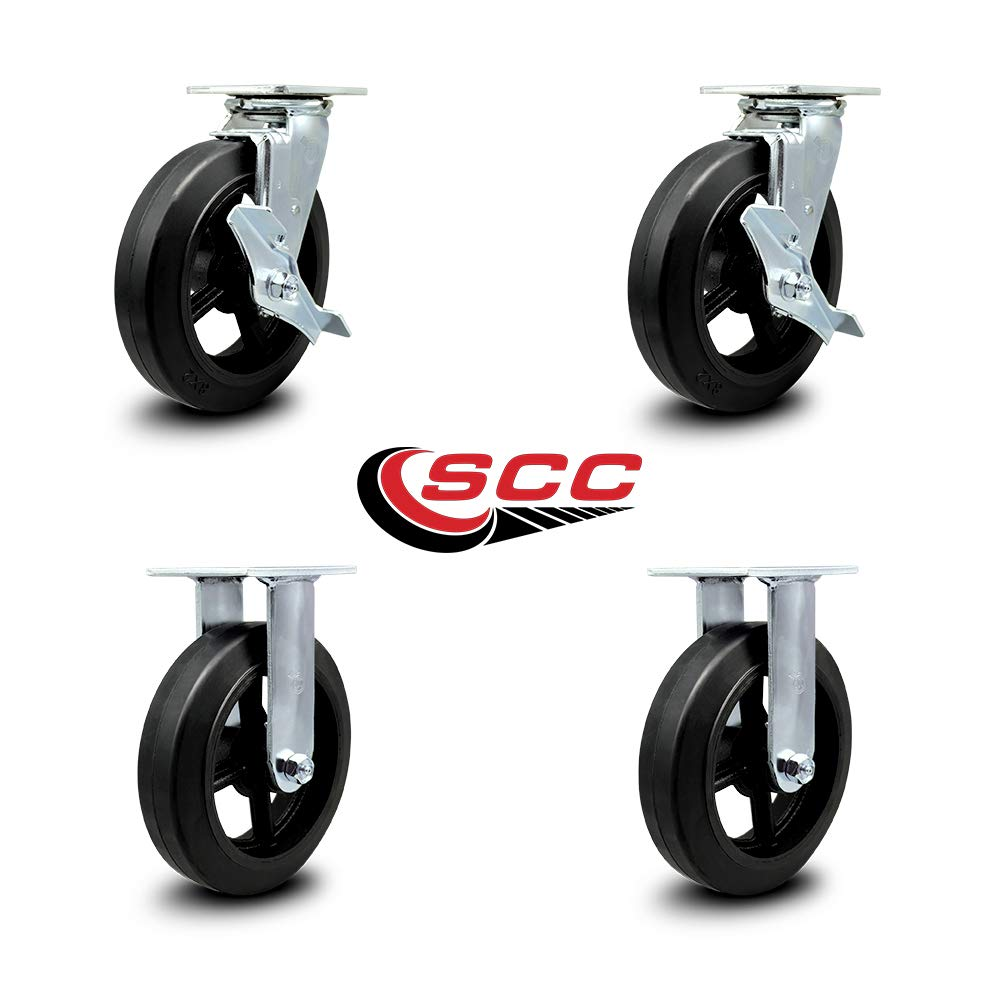 Service Caster - 8'' x 2'' Rubber on Cast Iron Wheel Caster Set - 2 Swivel w/Brakes/2 Rigid - 2,000 lbs Total Capacity - Set of 4 by Service Caster (Image #1)