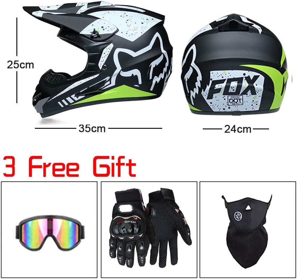 Naponior Motocross Helmet Adult Off Road Helmet with Gloves Goggles Full Face Mountain Bike Motorcycle Helmet Crash Helmet for Downhill Off Road MTB Quad Bike Enduro Racing,A,M Masks