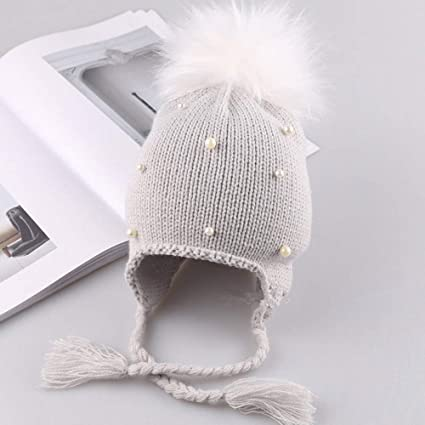 23927191e8007 Queta Pearl - Gorro de Lana para niños con Orejeras Gris Gris ...