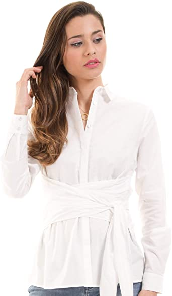 Vila Camisa Cintura Lazo VINAVARO Clothes (L - Blanco ...