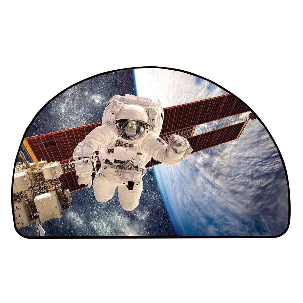 C COABALLA Outer Space Decor Comfortable Semicircle Mat,International Station Global Communication Orbiting Over Earth Rocket Photo for Living Room,11.8'' H x 23.6'' L