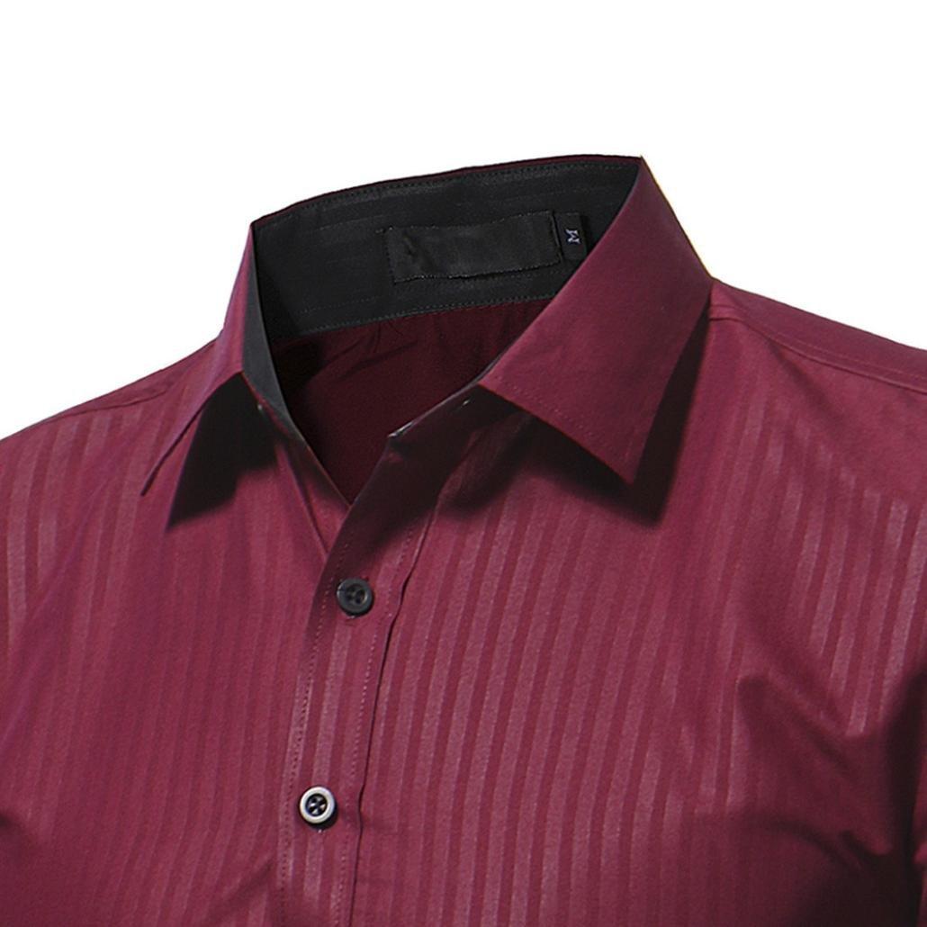 Ximandi Casual Men Shirt Long Sleeve Slim Fit Shirt Mens Striped Dress Shirts by Ximandi (Image #5)