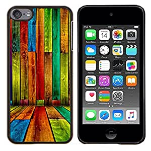 Qstar Arte & diseño plástico duro Fundas Cover Cubre Hard Case Cover para Apple iPod Touch 6 6th Touch6 (Color madera - Patrón Grunge)