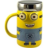 HI LUXE Minion 3D Ceramic Mug with Chrome Plated Insulated Cap and Handle (One Size, Multicolour)
