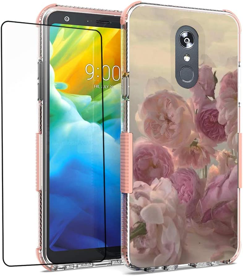 for LG Stylo 5 Case, LG Stylo 5 Plus Case, Stylo 5V Case with Tempered Glass Screen Protector, Shockproof TPU Case (Pink)