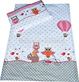 babies-island Children's Bedding Set for Girls Duvet Cover and Pillowcase Cot bed size - PINK OWLS (100x135 cm)