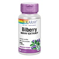 Solaray Bilberry Berry Extract 60 mg | Powerful Antioxidant | Healthy Vision & Circulation Support | 60 VegCaps