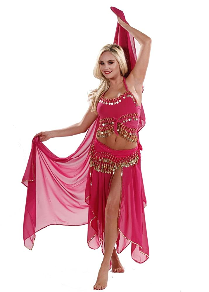 d8810971d Amazon.com: Belly Dance Costume Set | Skirt-Veil,Tank-Top & Hip Scarf |  Tremendous: Clothing