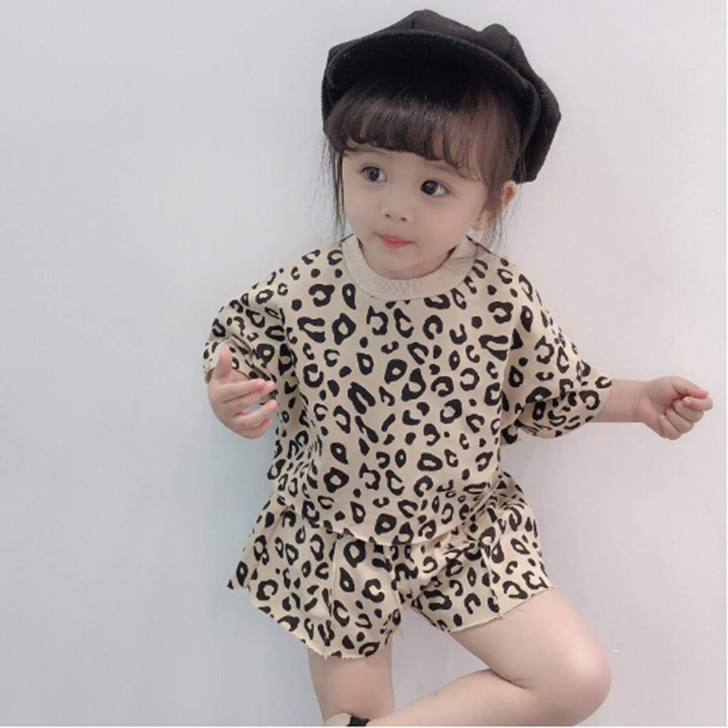 Alonea Pullover Leopard Toddler Kids Baby Girls Outfits Clothes Leopard T-Shirt Tops+Shorts 2PCS Set