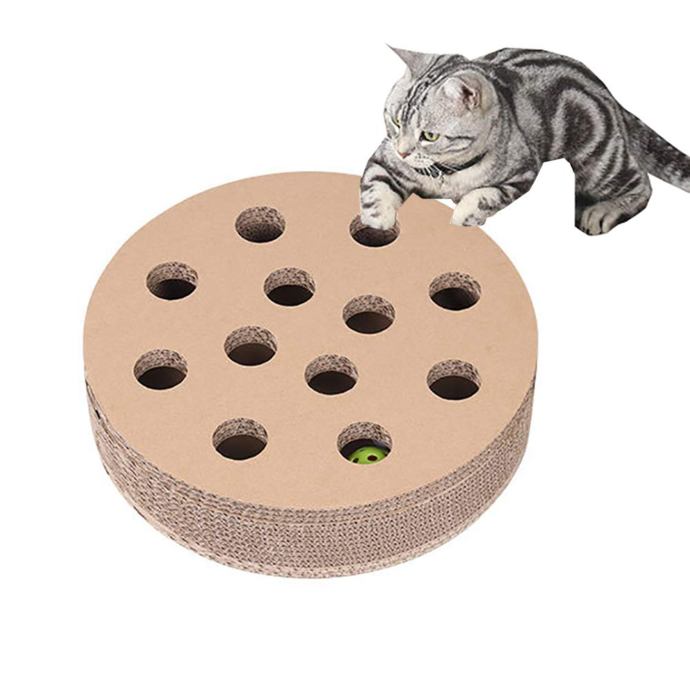 Cat Scratch Board Round Ball Ball Ball Cat Toy Corrugated Paper Wearable Cat Turntable for Pets and Cats of Any Age and Size to Sleep, Grab and Play Games