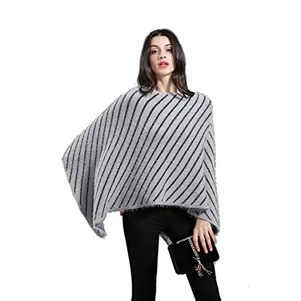 87bbb295235a90 Amazon.com: Zxcvlina Shawl Jumper Womens Striped Sweater Pullover Cape  Knitted Poncho with Fringed Sides (Color : Gray): Home & Kitchen
