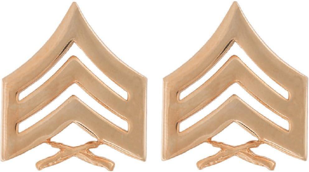 USMC Marine Corps Rank Insignia Satin Gold Chevron Sergeant Collar Device