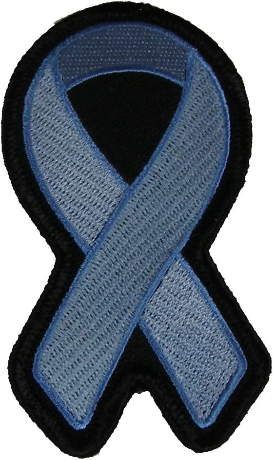Amazon Com Light Blue Ribbon For Prostate Cancer Tuberous Sclerosis And Colon Cancer Awareness Patch Light Blue Veteran Owned Business Arts Crafts Sewing