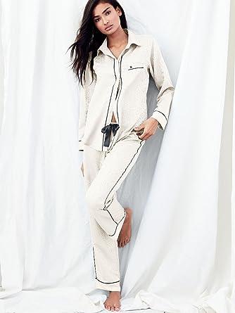 Victoria s Secret The Afterhours Satin Pajama Coconut White Animal Jacquard aae7b93c5