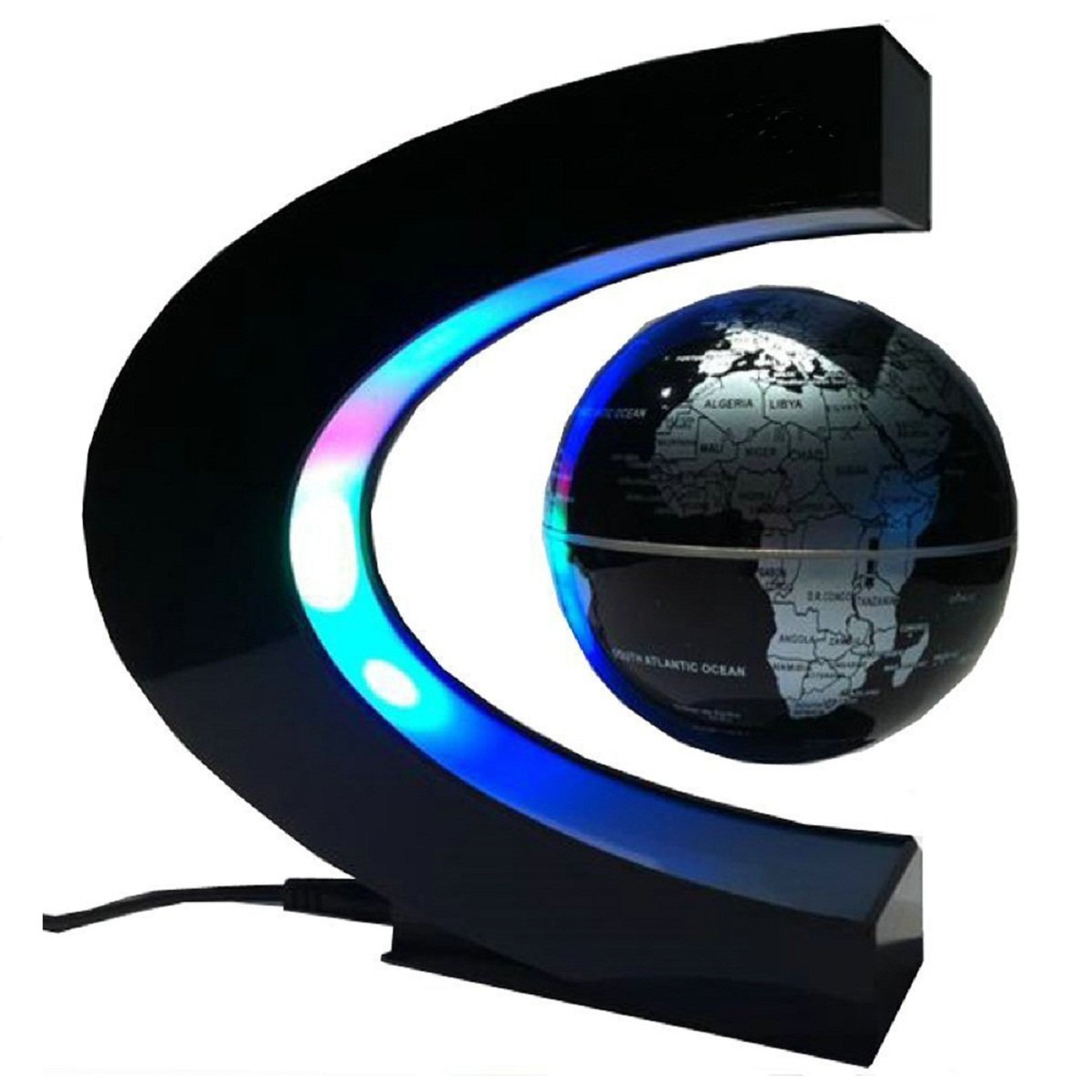 Koiiko funny c shape magnetic levitation floating globe world map koiiko funny c shape magnetic levitation floating globe world map led light office table decorate mysteriously suspended in air great christmas gift for gumiabroncs Images