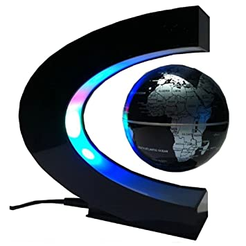 Koiiko funny c shape magnetic levitation floating globe world map koiiko funny c shape magnetic levitation floating globe world map led light office table decorate gumiabroncs Image collections