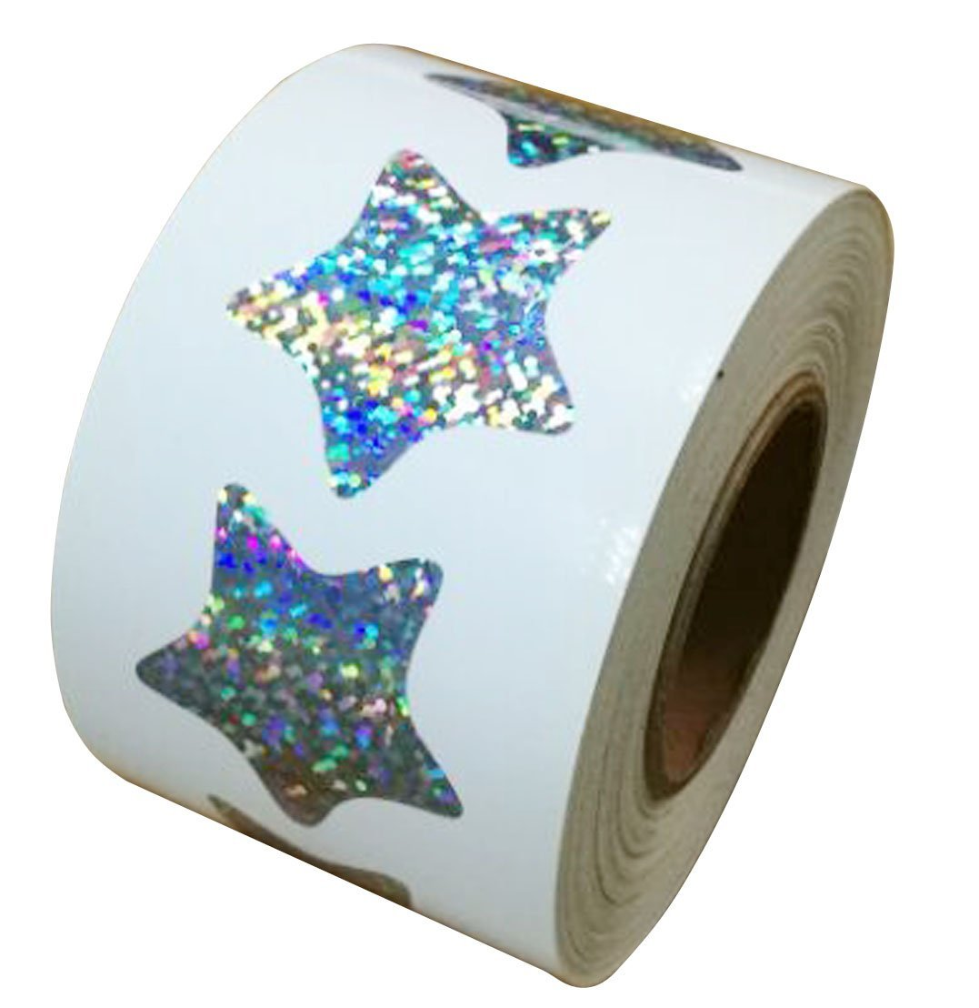 Well Tile Glitter Star Shape Stickers - 1.1'' Inch - 500 Per Roll - Shiny Foil Teacher Supplies Scrapbooking Party Favors (Star)