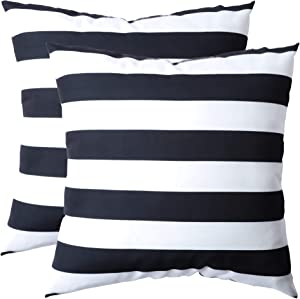 famibay Decorative Outdoor Waterproof Throw Pillow Covers,Pack of 2 All Weather Patio Cushion case Shell for Porch, Balcony, Tent ,Couch and Bench 18x18 Inch Black and White Striped