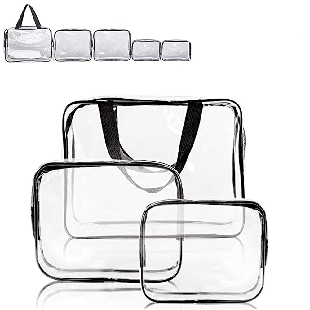 Clear Makeup Bag, APREUTY TSA Air Travel Cosmetic Toiletry Bag Set with Zipper Pouch Portable Waterproof PVC Organizer Makeup Case for Women Men (5 PCS, Clear/Black)