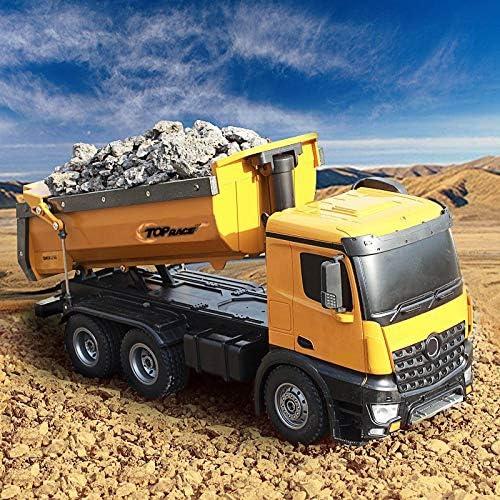 Top Race télécommandé, véhicule à Benne basculante RC, Camion de Construction Robuste en métal et en Plastique à l'échelle 1:14, capacité de Charge 22 LBS TR-212