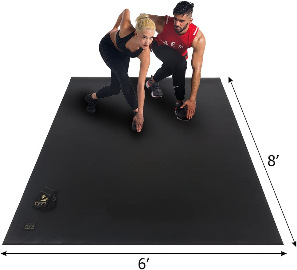 GXMMAT Extra Large Exercise Mat 6 x8 x7mm for Home Gym Flooring, Ultra Durable Cardio Workout Mats Non-Slip,Non-Toxic, Ideal for MMA, Plyo, Jump, All-Purpose Fitness