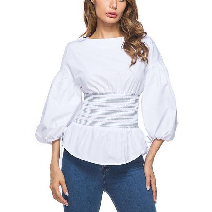 La Blusa de la Manga de Soplo de la Llegada de Las Muchachas Remata la Blusa Elegante Blanca de la Manga de Las Mujeres de la Moda Lazo 3/4: Amazon.es: Ropa ...