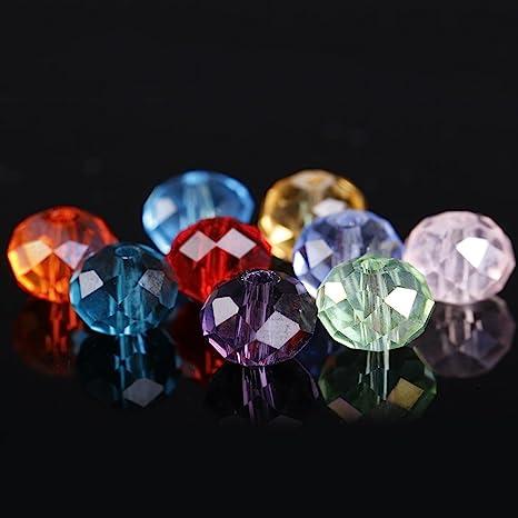 72 X 8mm facetas cuentas Rondelle Cristal de Vidrio Transparente