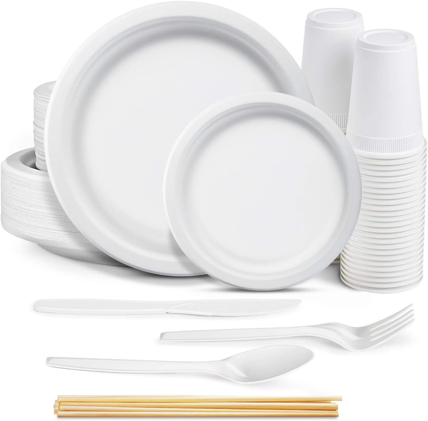 350pcs Compostable Paper Plates Biodegradable Disposable Heavy Duty Recycled Paper Plates Eco Friendly Disposable Utensils Dinner Plates Dessert Plates Forks Knives And Spoons 50 Each Amazon Ca Home Kitchen