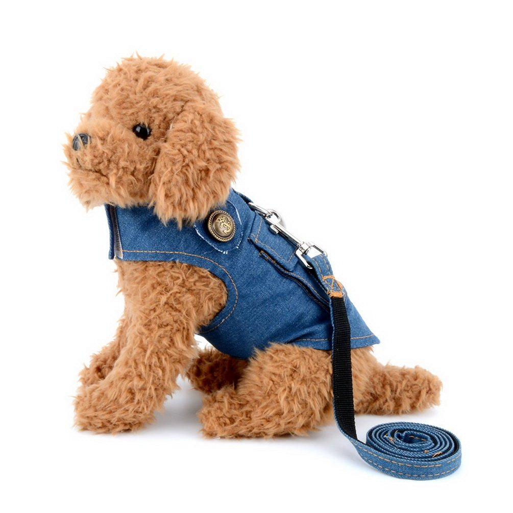 smalllee_lucky_store Denim Vest Harness with Back Pocket for Small Dog Cat,Jean Jacket with Harness Hook,Easy on and Off Dark Blue S