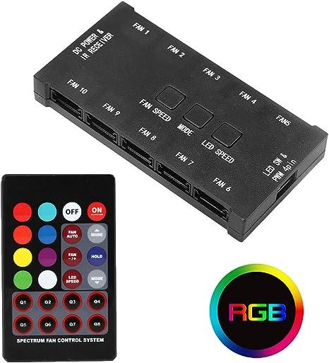 JUSTOP® 10 Puertos RGB PC Casing Ventilador de refrigeración con ...
