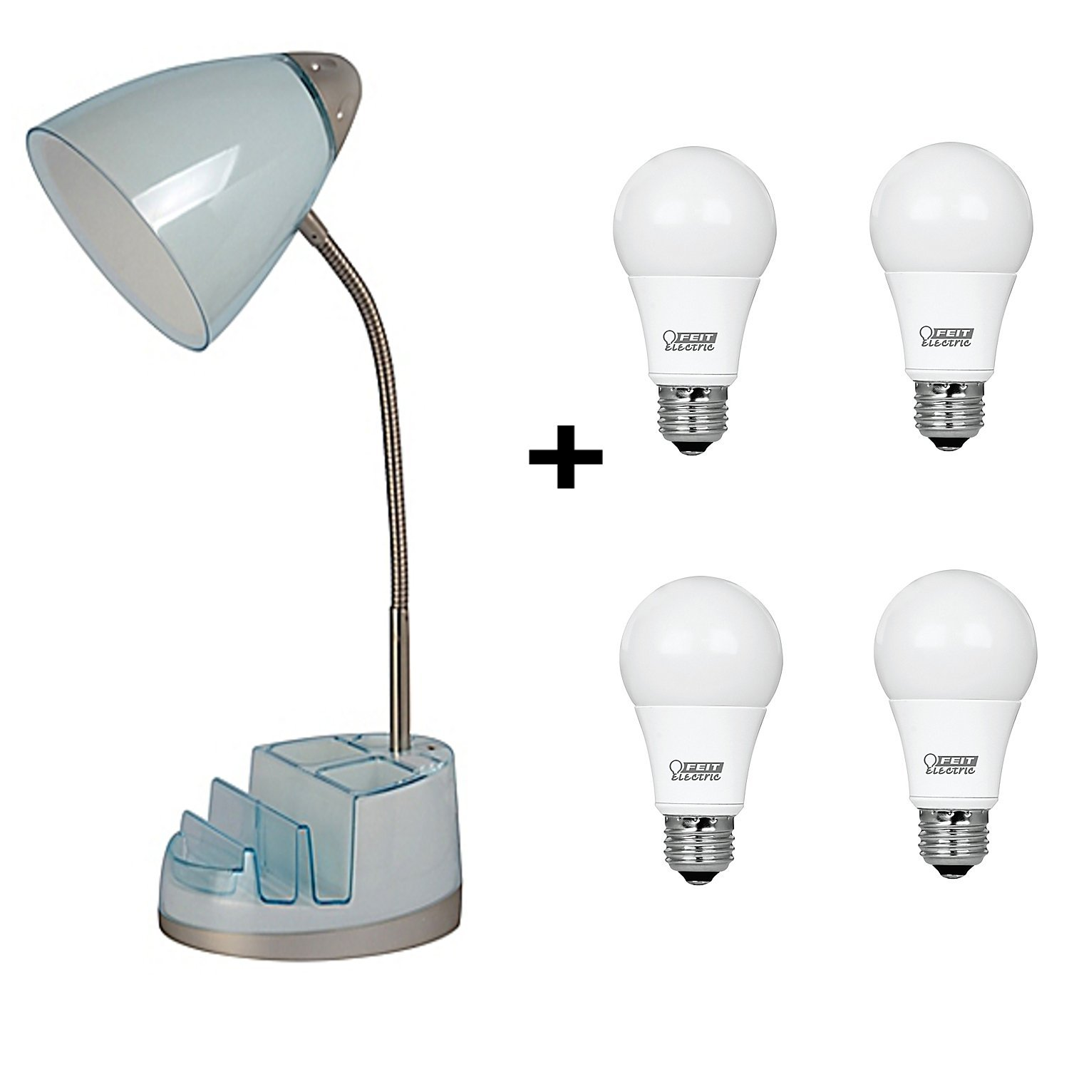 Desk Lamp with Tablet Organizer Outlet/USB with 4-Pack LED Daylight Light Bulbs (Spa)