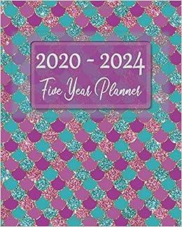 2020-2024 5 Year Planner: Sea Foam Green & Purple Pink ...
