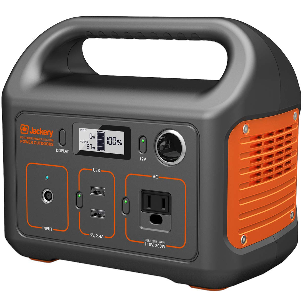 Jackery Portable Power Station Explorer 240, 240Wh Backup Lithium Battery, 110V 200W Pure Sine Wave AC Outlet, Solar Generator Solar Panel Optional for Outdoors Camping Travel Hunting Emergency