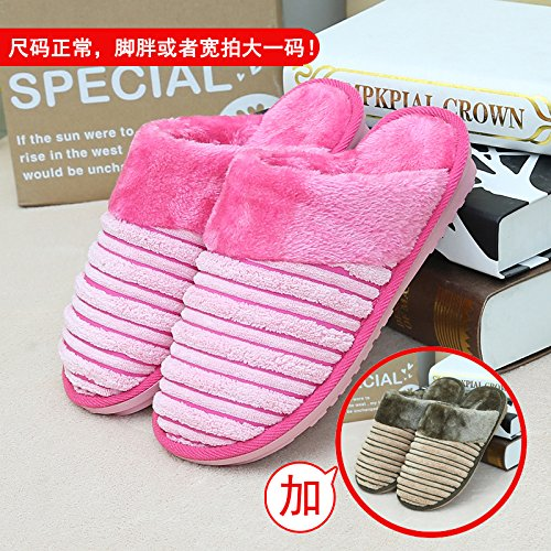 Home habuji caldo cotone pantofole uomini e donne borsa con trampolino indoor antiscivolo per scarpe, femmina 37/38 + maschio 43/44, rosa + caffè