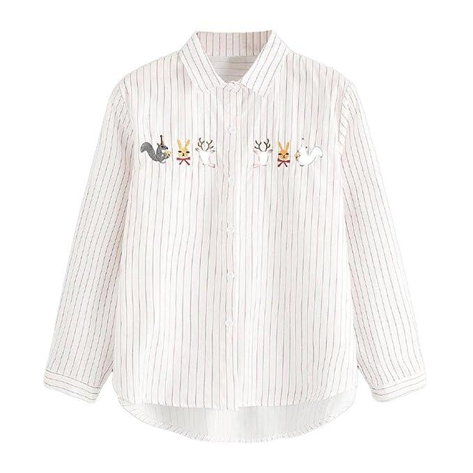 DEELIN Camiseta De Manga Larga Bordada A Rayas con Capucha PequeñA De Manga Larga para Mujeres