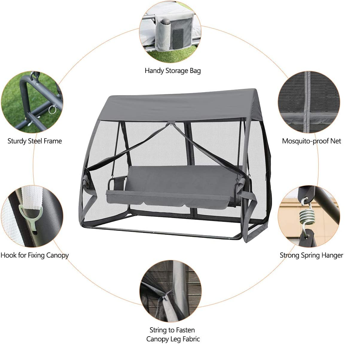 COSTWAY 3 Seat Garden Swing Chair with Cover Tent Water Resistant Roof /& Mosquito Net Color 1 2 in 1 Outdoor Rocking Hammock Bench Patio Swing Bed for Porch Garden Backyard Pool Side