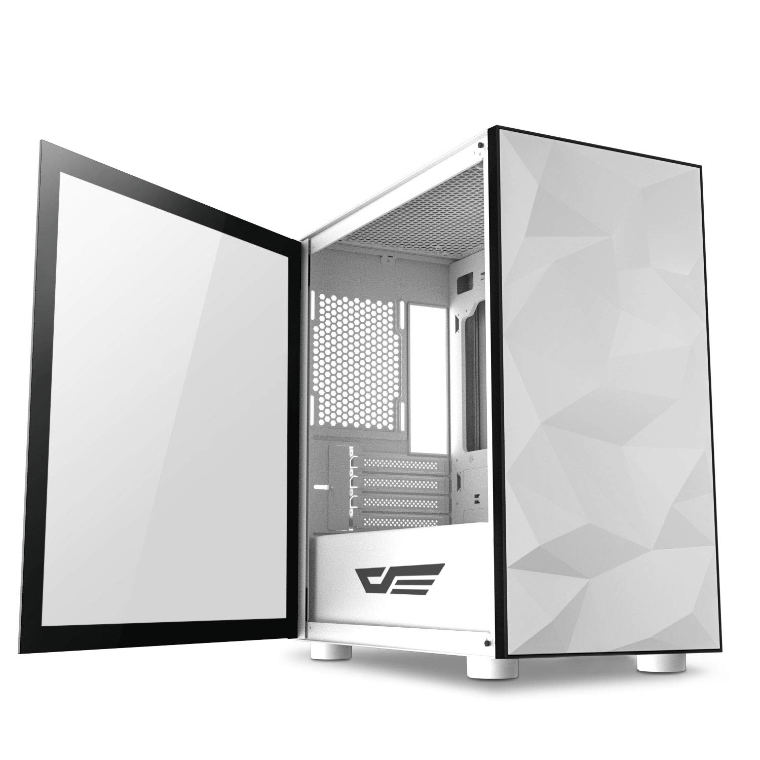darkFlash Micro ATX Mini ITX Tower MicroATX Computer Case with Magnetic Design Wide Open Door Opening Swing Type Tempered Glass Side Panel (DLM21 White) by darkFlash