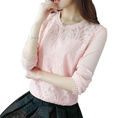 Twie Spring Korean Style Women Long Sleeve Casual Shirt Patchwork Lace Chiffon Blouse Tops Plus Size