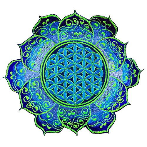 ImZauberwald Flower of Life UV Patch Holy Geometry 20cm 8inches Yantra