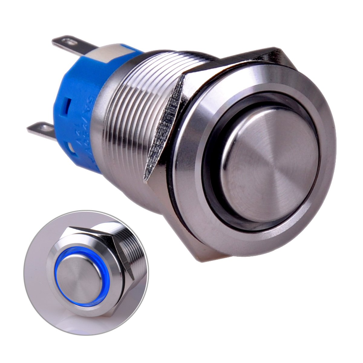 Taien Momentary Push button Switch 19mm 3//4 1NO1NC ON//OFF Silver Stainless Steel Shell with 12V Green LED Light for Car DIY