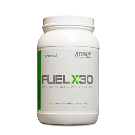 Fuel X30 Whey Isolate Protein by Atomic Strength Nutrition Premium Quality Sugar Free Fat Free Gluten Free and Lactose Free – Homemade Ice Cream – 2 Pound