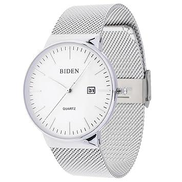 Prettyia Reloj Biden Relojes De Cuarzo para Hombres De Negocios Relojes Resistentes Al Agua Relojes - Banda de Plata de Cara Blanca: Amazon.es: Hogar