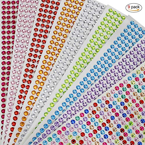 (Crystal Rhinestone Stickers Self-Adhesive Jewels Sticker for Kids DIY Craft Cards, Wedding Decorations, Body, Nail, Scrapbooking Embellishment 9 Sheet/ 4536PCS)